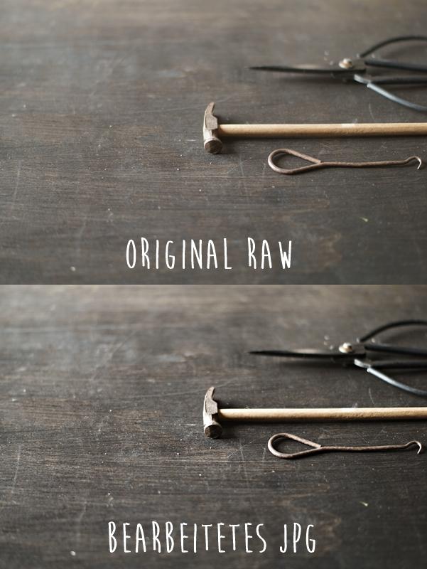 Blog + Fotografie by it's me! - Makro Montag - Collage kleiner Hammer, alte Schere, altes Werkzeug auf Schwarz