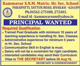 Kammavar S.N.M Matric. Hr. Sec. School Wanted Principal | Last Date: 6th August 2018