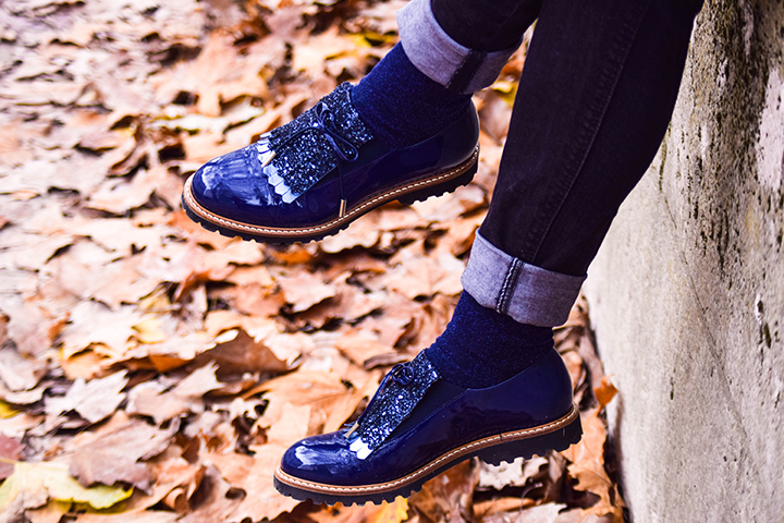 derbies bleues paillettes made by sarenza look