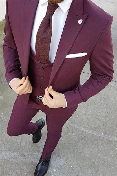 Purple Slim Fit 3 pieces Tuxedo