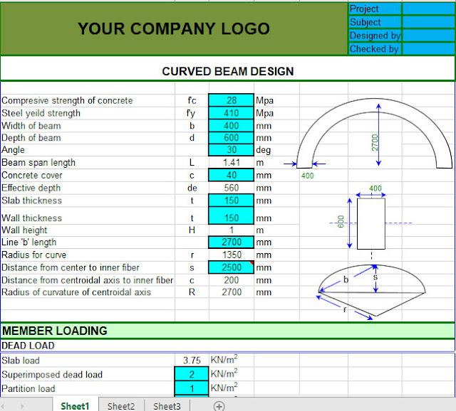 Curved Beam Design Spreadsheet - Engineering Society