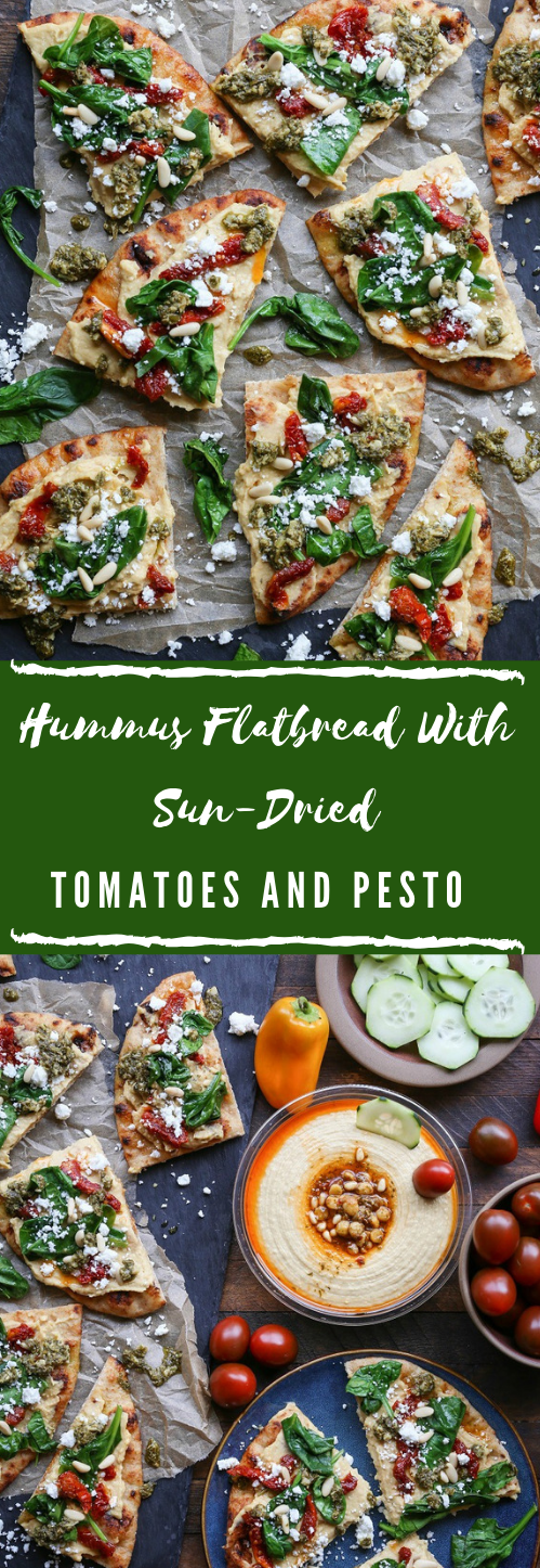 HUMMUS FLATBREAD WITH SUN-DRIED TOMATOES & PESTO #vegan #paleo #easy #pesto #tomato