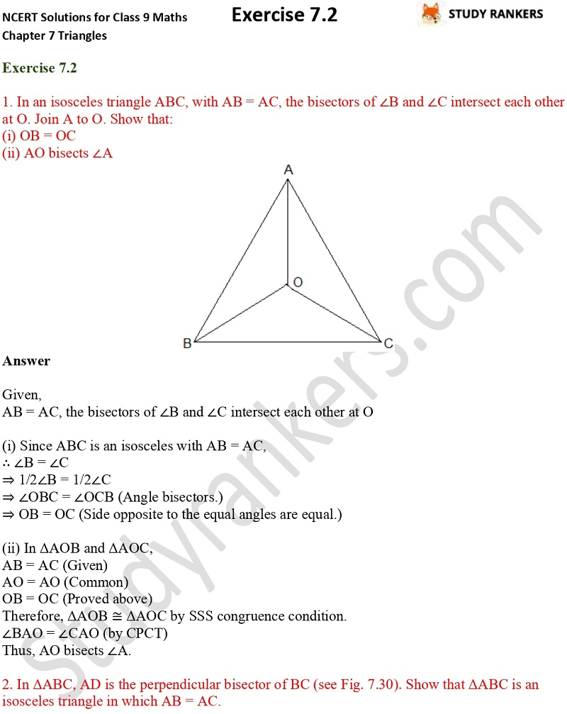 NCERT Solutions for Class 9 Maths Chapter 7 Triangles 7.2 Part 1