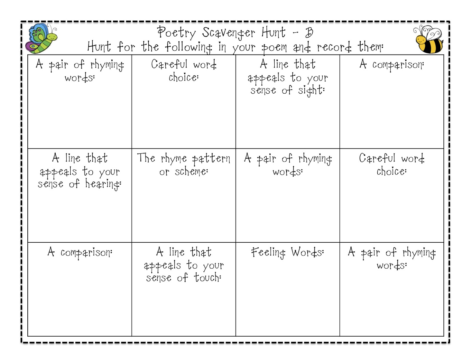 Buzzing With Ms B Poetry Stations Amp Scavenger Hunt Freebie