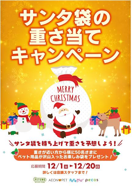 ワンちゃんネコちゃん毎年恒例人気企画!サンタ袋キャンペーン PETEMOレイクタウンKAZE