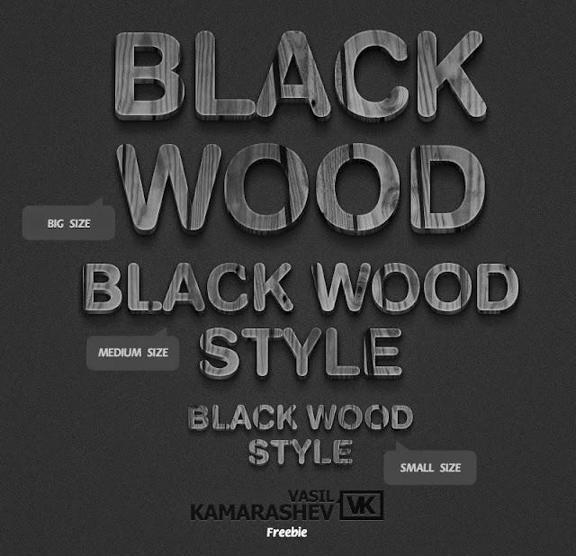3D Black Wood Text Style