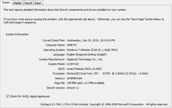 Melihat Spesifikasi Komputer dengan DXdiag