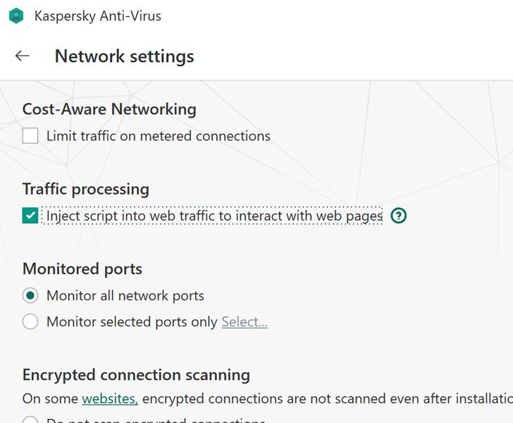 kaspersky antivirus javascript injection