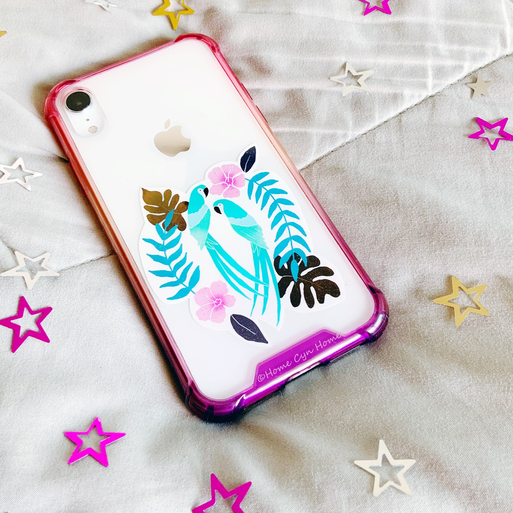 big fancy designer cases with artwork are on the way out. personalise your phone with a clear case and stickers instead