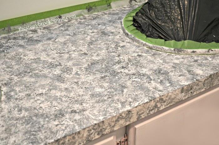 Close up of painted faux granite countertop
