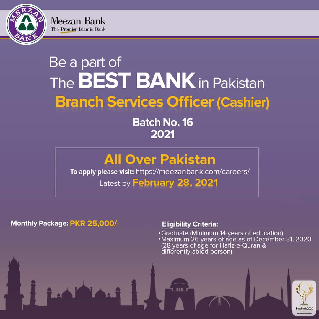 Meezan Bank Jobs 2021 For Branch Services Officer (Cashier) Batch 2021 | Apply Online
