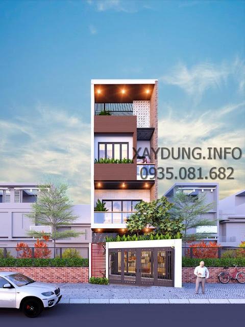 mẫu nhà phố 4 tầng hiện đại, đơn giản