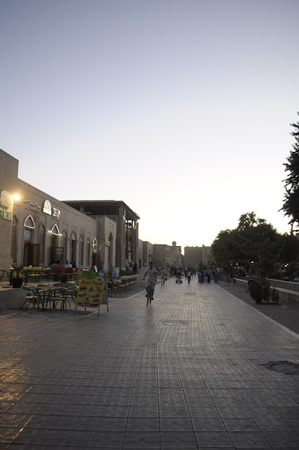 things to see and do in Bukhara Uzbekistan street scene at night