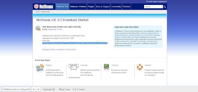 Verificando a hash no site do NetBeans