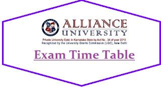 Alliance University Exam Date Sheet 2020