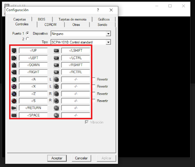 pSX Emulator: Controles de teclado