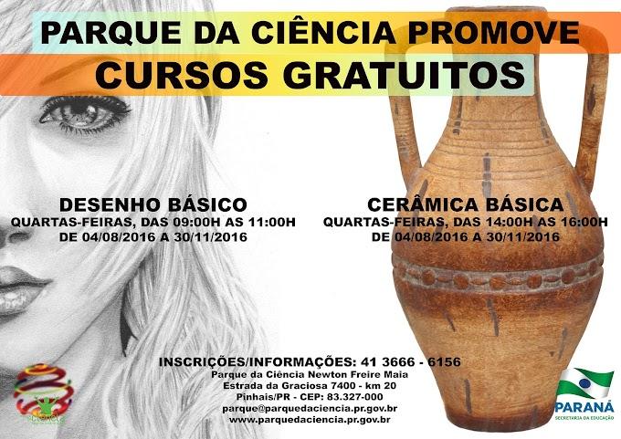 Estão abertas as inscrições para as turmas do segundo semestre dos cursos de Desenho Básico e Cerâmica Básica do Parque da Ciência!