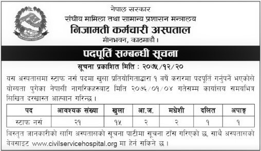 Civil Service Hospital Vacancy Notice for Staff Nurses