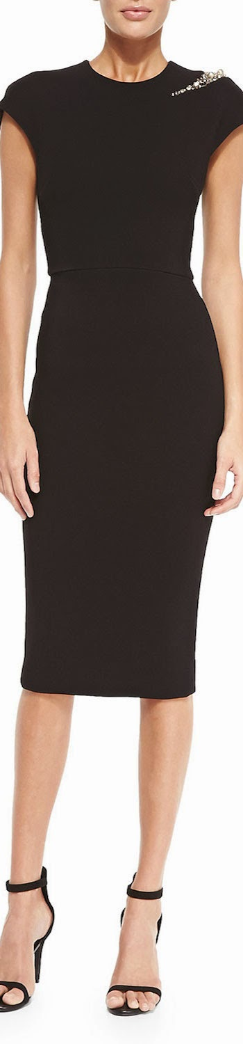 Victoria Beckham Cap-Sleeve Sheath Dress  Embellished Shoulder