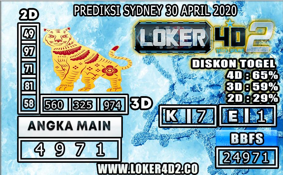 PREDIKSI TOGEL SYDNEY LOKER4D2 30 APRIL 2020