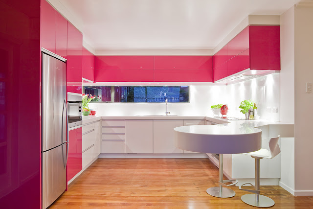 fetching u shaped kitchen with white and red polished kitchen cabinet plus unique breakfast bar