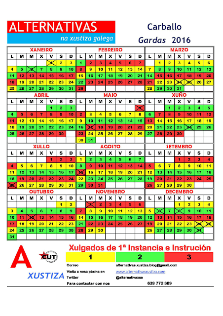 Carballo. Calendario gardas 2016