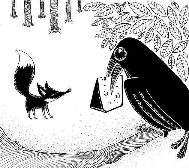 Dibujo Para Colorear Del Zorro Y El Cuervo