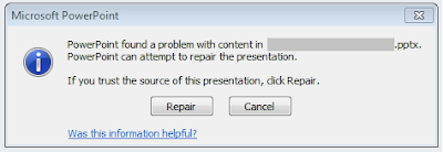 Cara Mengatasi Error Found a Problem With Content di Power Point