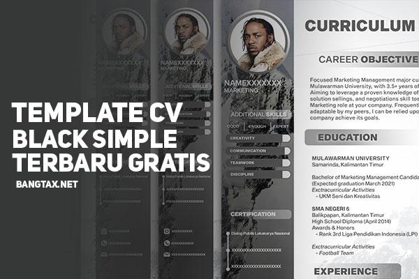 Template CV (Curriculum Vitae) Tema Black Simple Terbaru, Gratis!