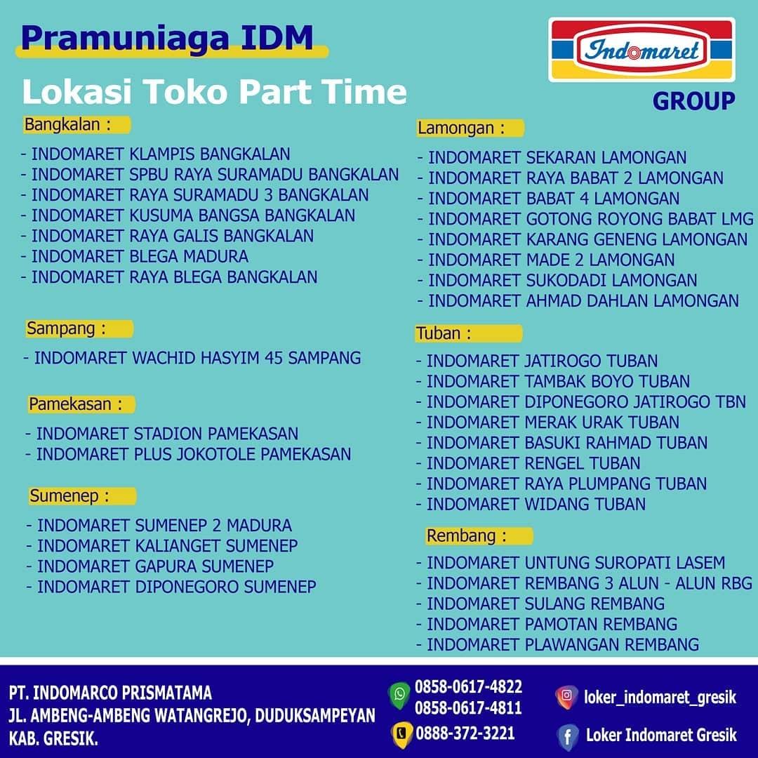 part time indomaret - lowongan rembang