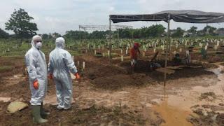 Pemakaman Jenazah Suspect Corona di Bekasi, Petugas Pakai Masker