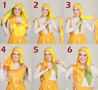 gambar cara pakai jilbab modern