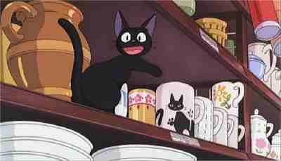 Jiji on a shelf Kiki's Delivery Service 1989 animatedfilmreviews.filminspector.com