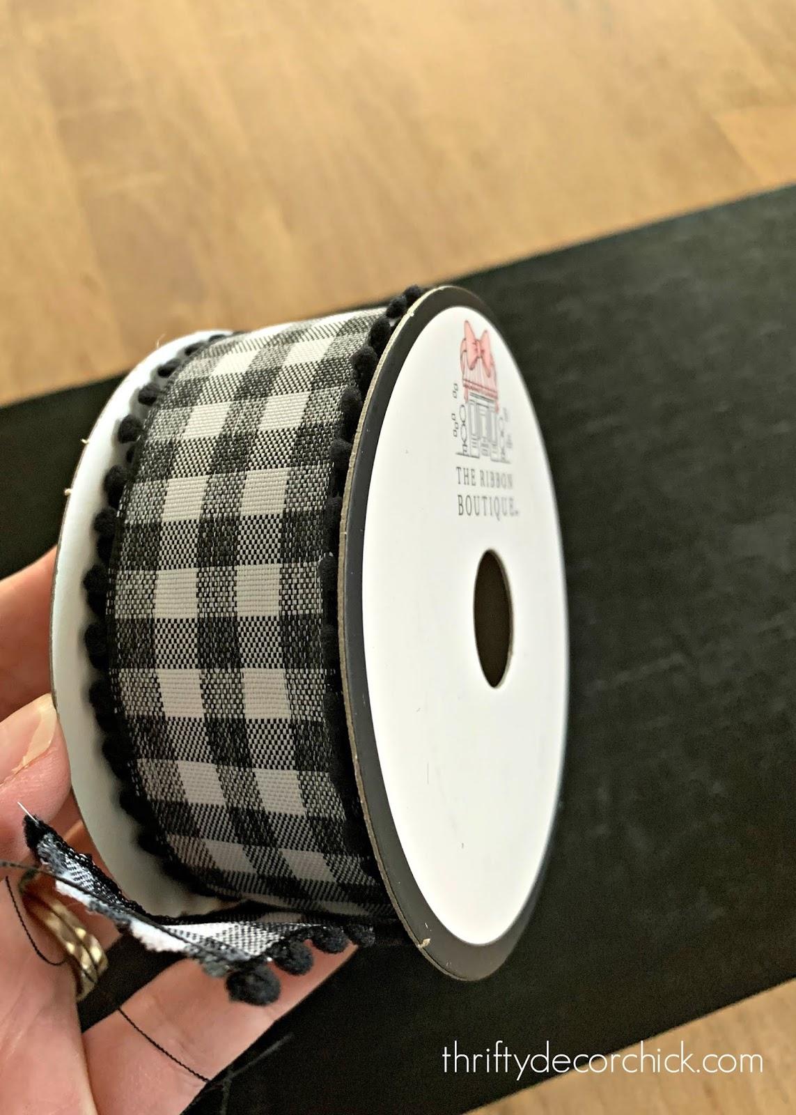 black and white gingham ribbon