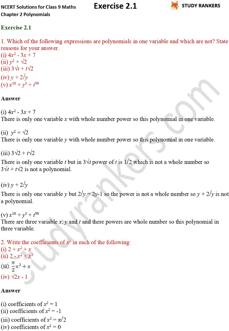 NCERT Solutions for Class 9 Maths Chapter 2 Polynomials Exercise 2.1 Part 1