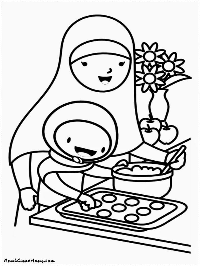 gambar mewarnai anak cemerlang membantu ibu membuat kue %