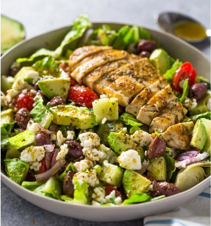 Greek Avocado & Grilled Chicken Salad with Greek Dressing