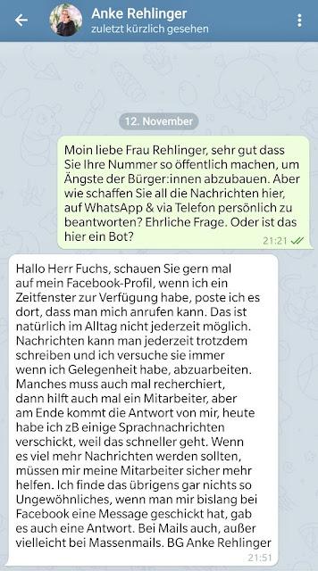 Persönliche Telegram-Nachricht von Anke Rehlinger an Martin Fuchs