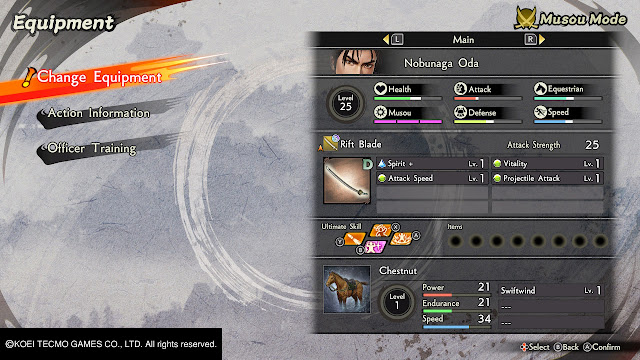 Oda Nobunaga Menu de preparación Samurai Warrior 5 Nitendo Switch