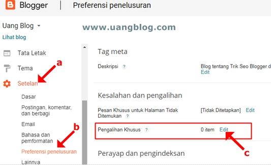 Cara Pengalihan Khusus dari URL Artikel Blog yang Dihapus ke URL Artikel Pengganti dan/atau ke URL Hamalan Utama/Home Page/Beranda Blog agar Trafik Tidak Hilang