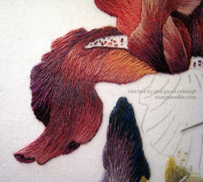 Thread painted iris lower left petal detail - Iris Spartan (design by Trish Burr)