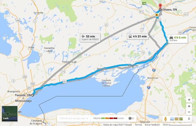 Como ir de Toronto a Ottawa de carro