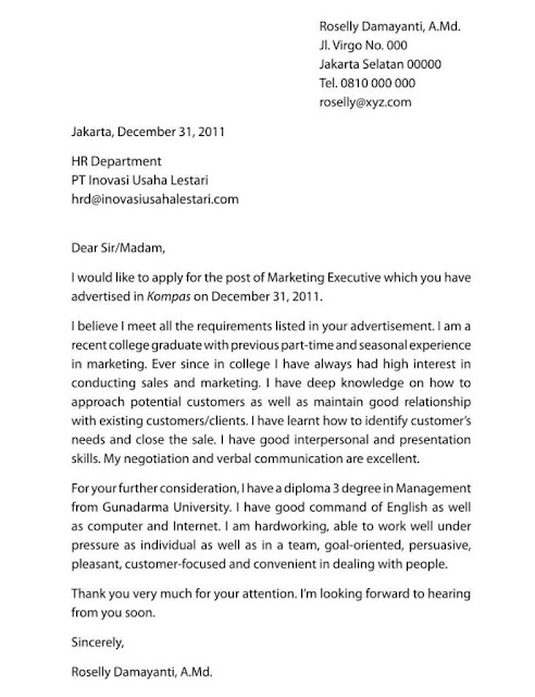 Contoh Surat Lamaran Kerja Bahasa Inggris (via: titikdua.net)