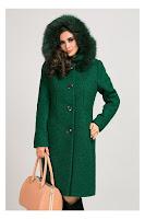 Palton verde lung elegant din lana