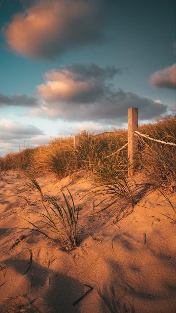 Wallpaper Beach, sand, grass, fence, clouds
