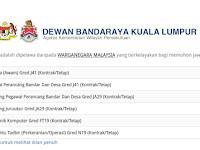 Jawatan Kosong di Dewan Bandaraya Kuala Lumpur DBKL - Pelbagai Gred / Jawatan
