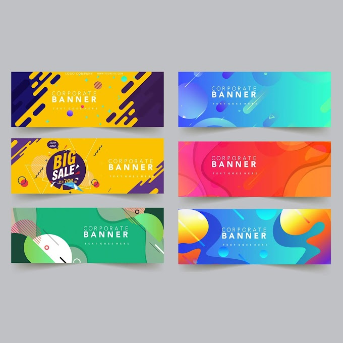 Corporate banner templates colorful modern abstract decor Free vector
