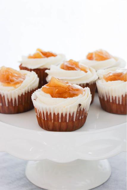 apple pie cupcakes on white cake stand