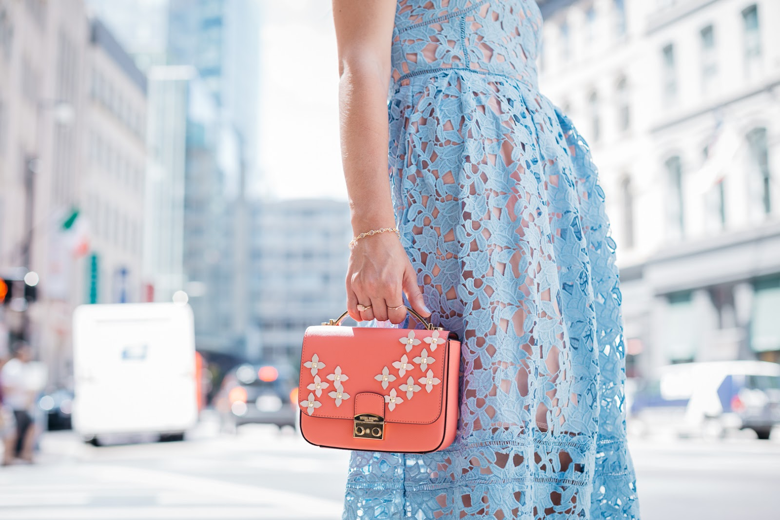 Pretty and pink this embellished Henri Bendel bag is perfect for summer
