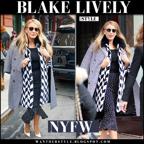 Blake Lively in black and white print coat michael kors and white pumps louboutin pigalle what she wore nyfw outfits